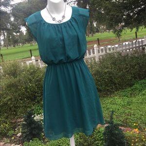 🍀Sweet Storm Green Lined Sleeveless Midi dress S